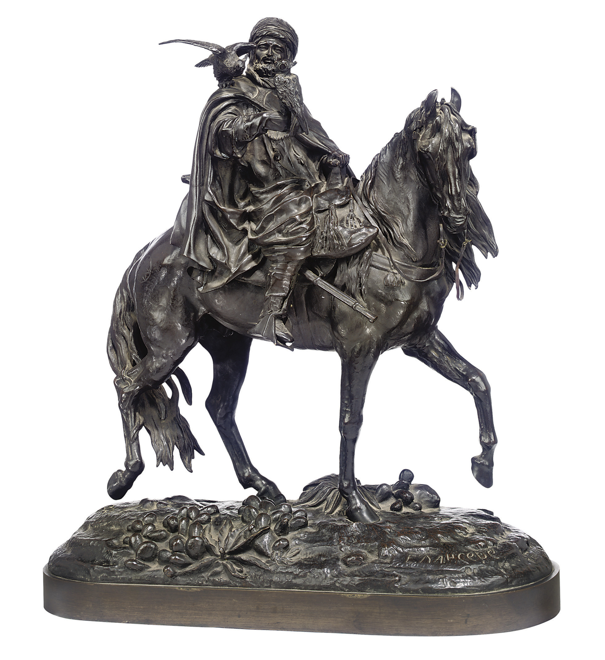 A RUSSIAN BRONZE GROUP OF A FALCONER ON HORSEBACK