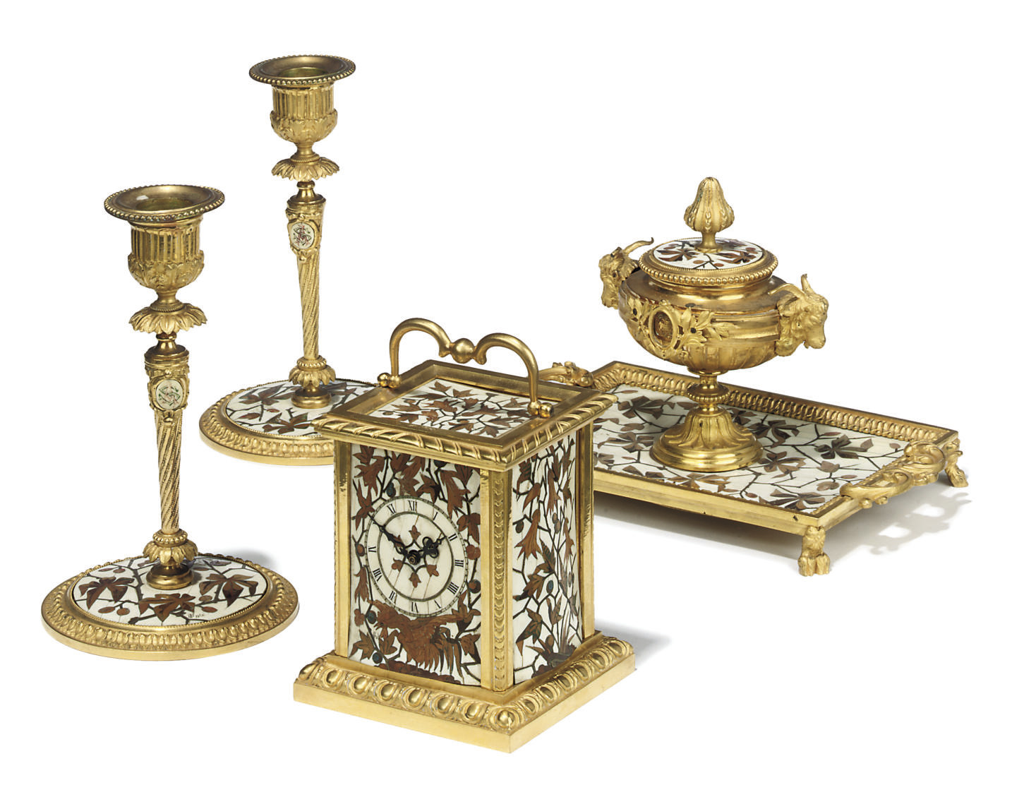 A NAPOLEON III ORMOLU-MOUNTED IVORY AND FRUITWOOD MARQUETRY FOUR-PIECE DESK-SET