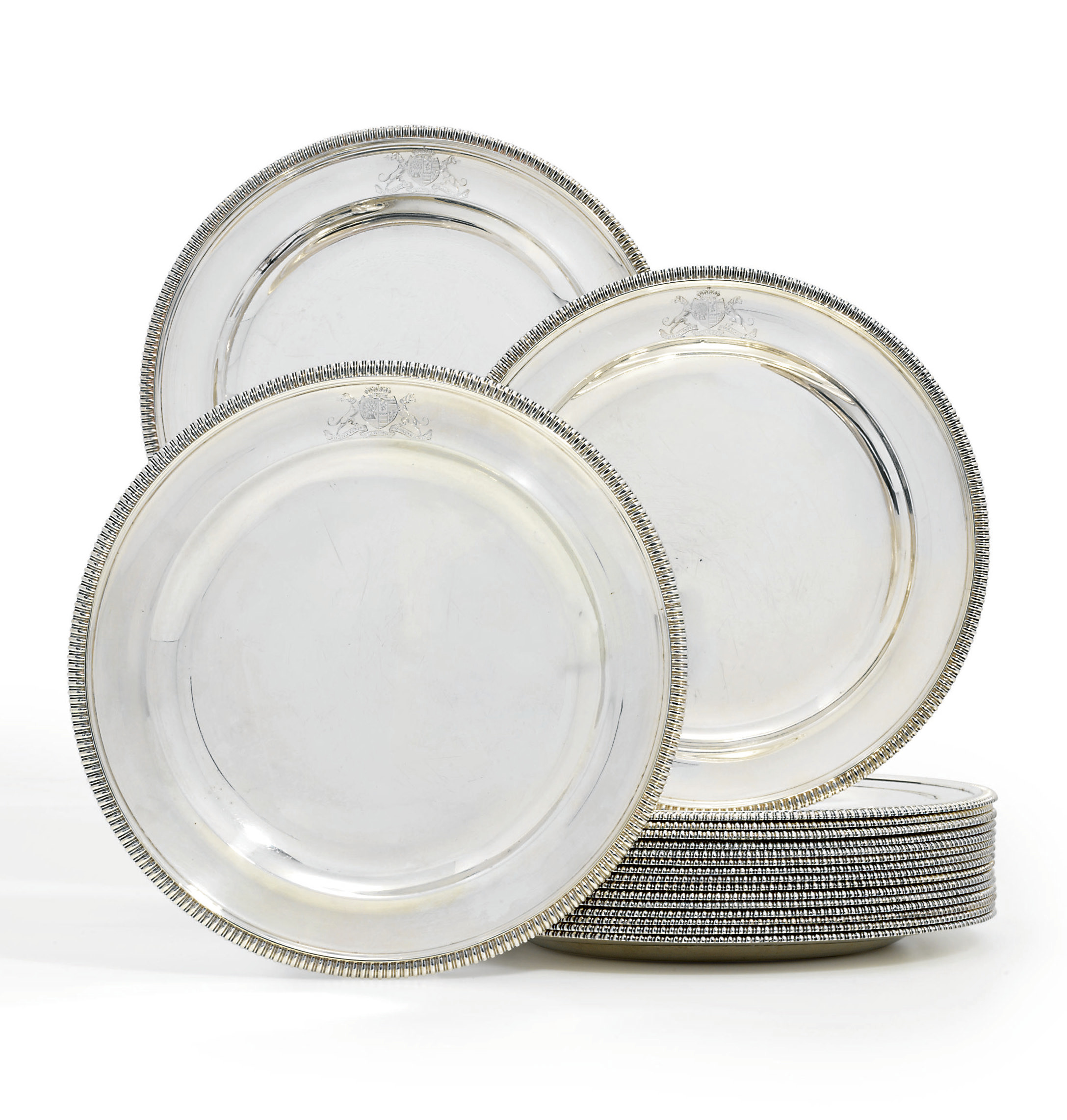 A SET OF EIGHTEEN GEORGE III SILVER DINNER-PLATES