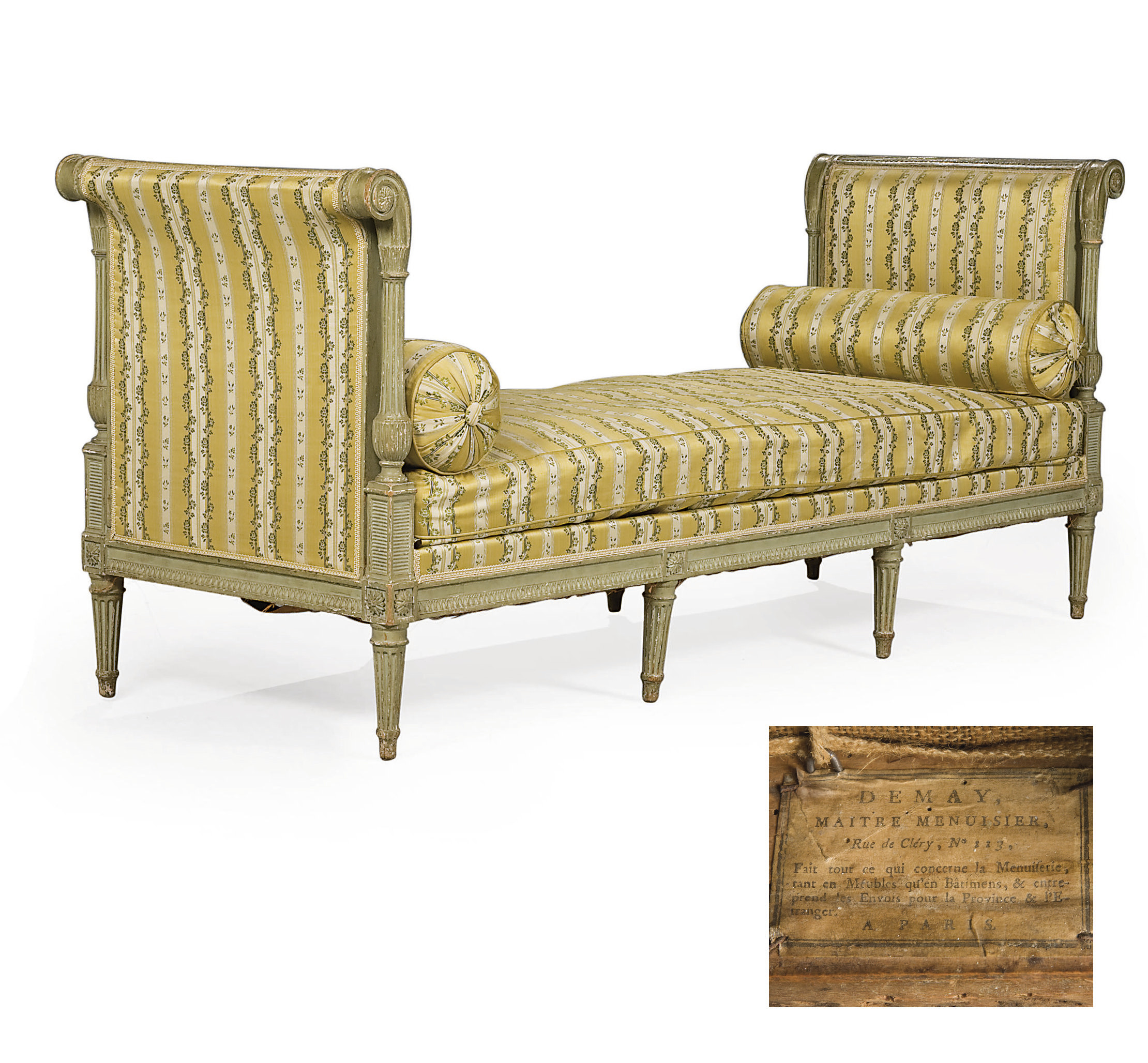 A LOUIS XVI GREY-PAINTED DAYBED