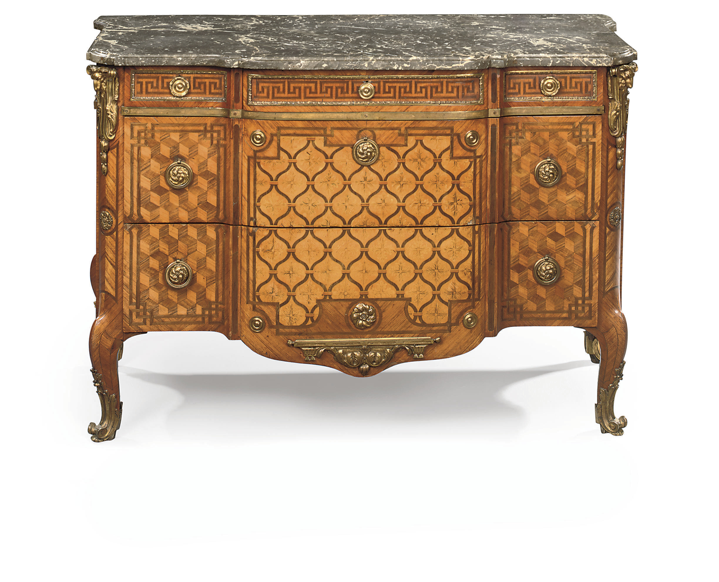 A LATE LOUIS XV OMOLU-MOUNTED TULIPWOOD, ROSEWOOD, AMARANTH, MARQUETRY AND PARQUETRY COMMODE