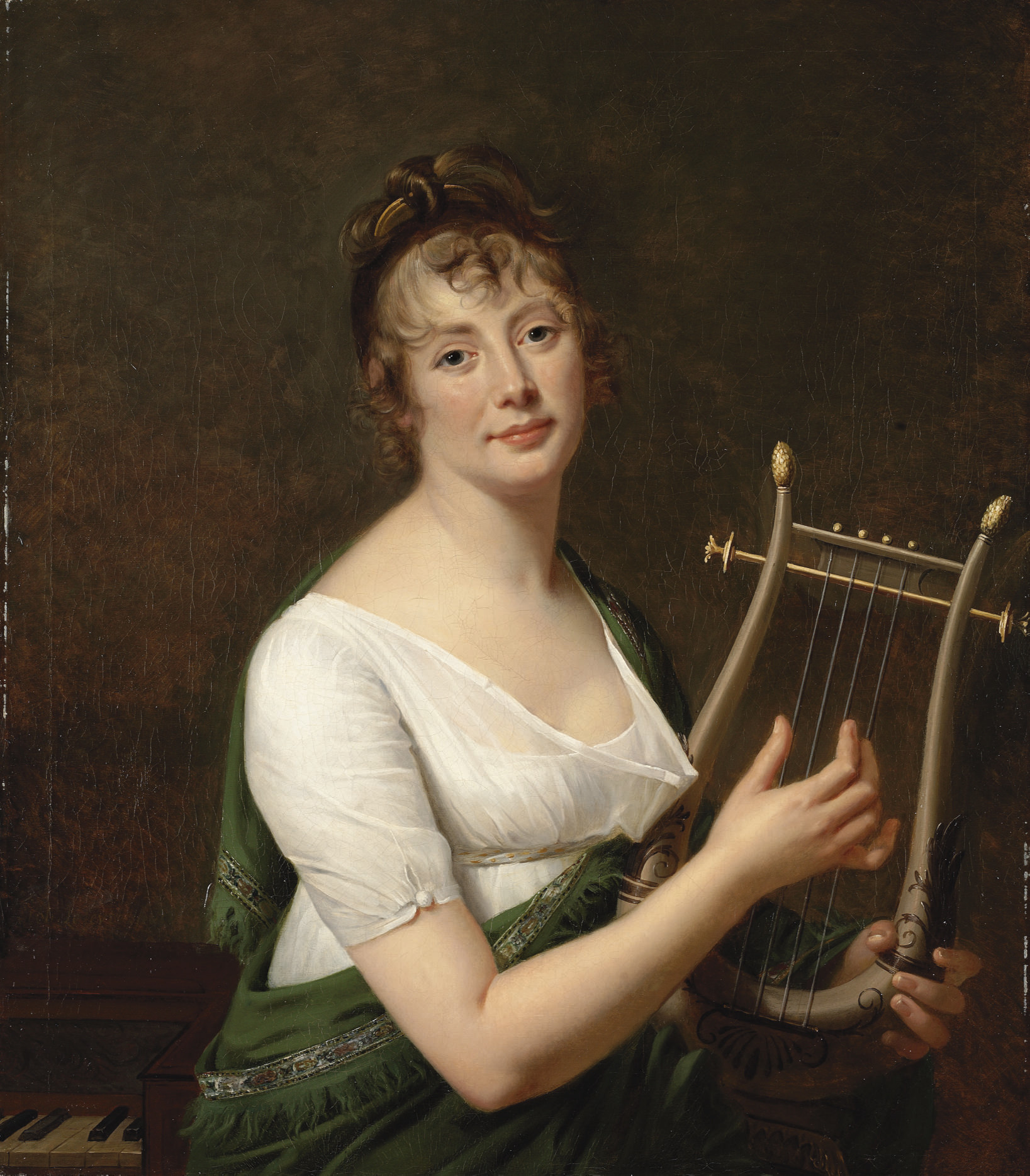 Portrait of a lady, half-length, seated at a piano, in a green mantle à la grecque, holding a harp