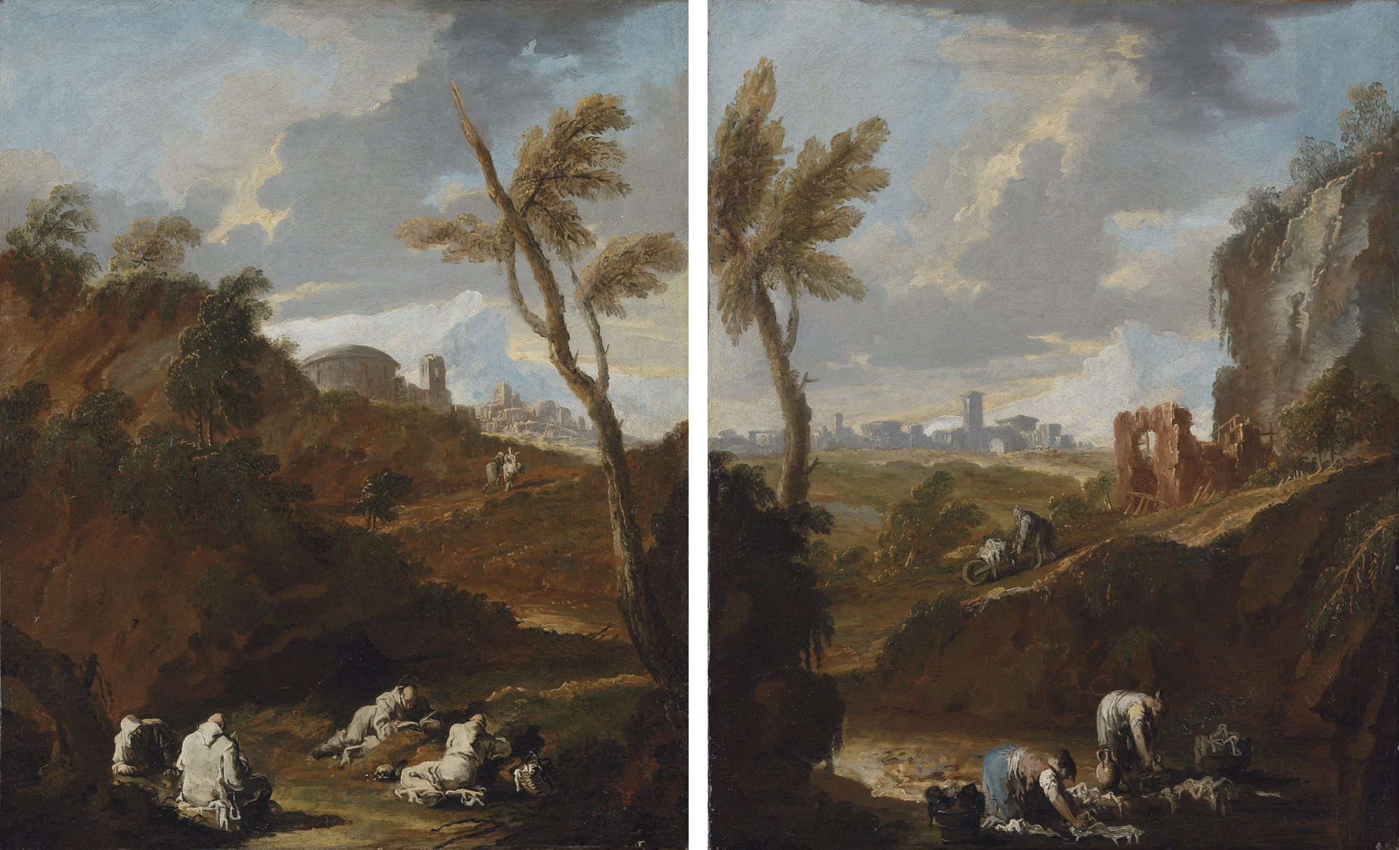 Monks studying in a landscape; and Washerwomen by a stream