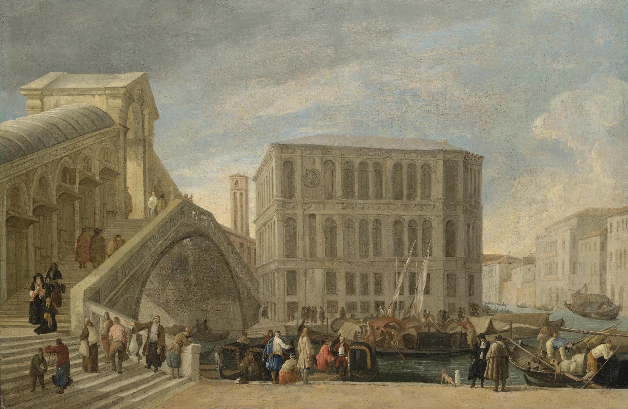 The Rialto Bridge on the Grand Canal, Venice, with the Palazzo dei Camerlenghi