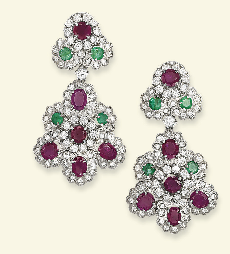 A PAIR OF RUBY, EMERALD AND DIAMOND EAR PENDANTS, BY SANZ