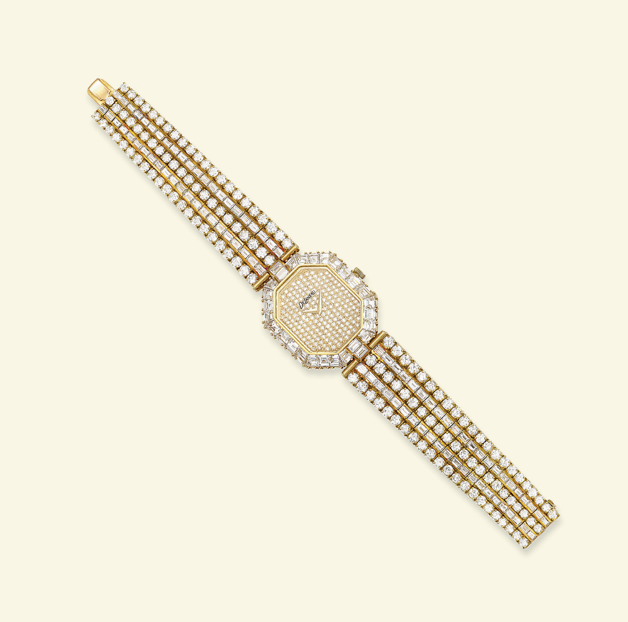 A LADY'S DIAMOND WRISTWATCH, BY DELANEAU
