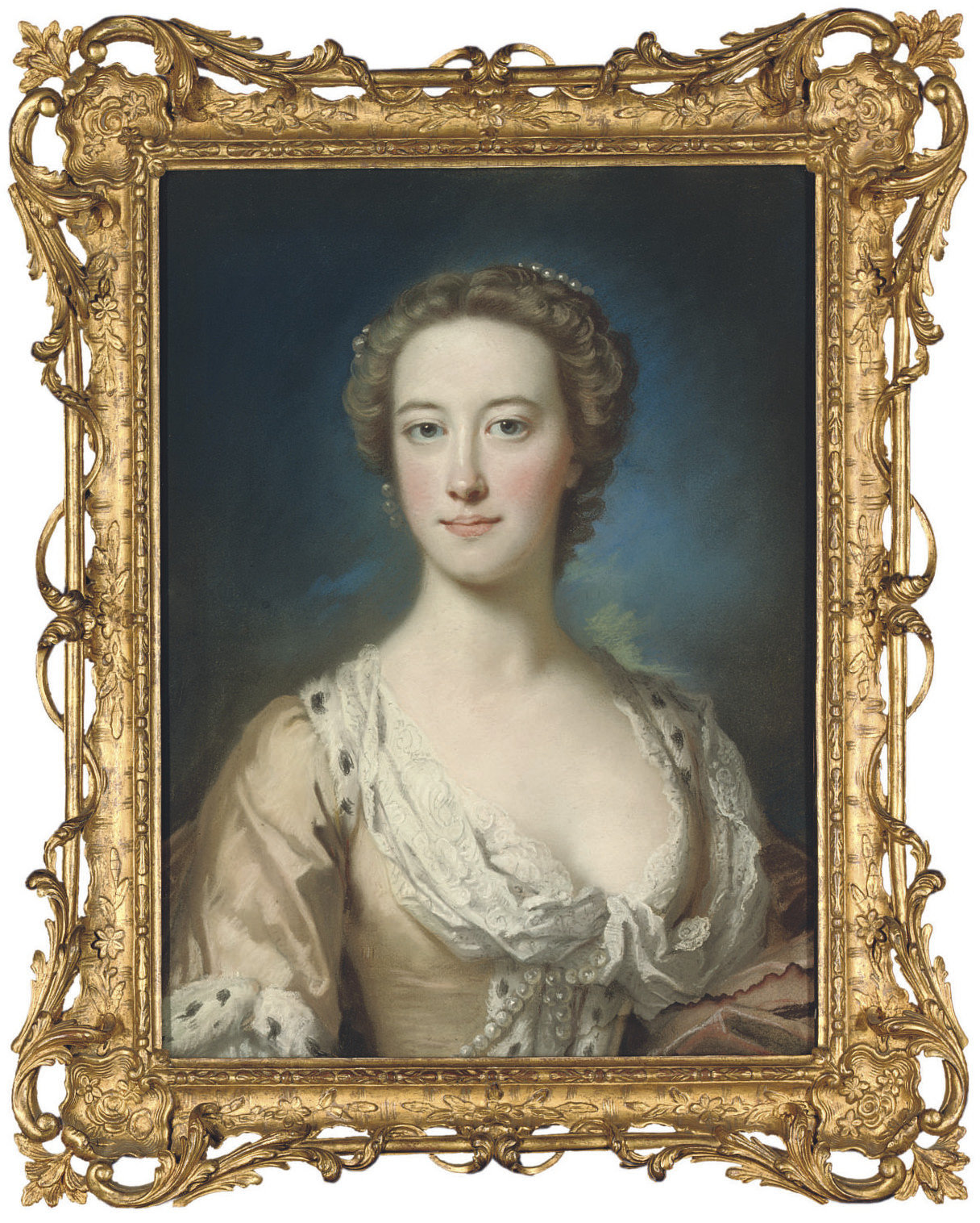 Portrait of a lady, half-length, in a dress trimmed with yellow lace and ermine
