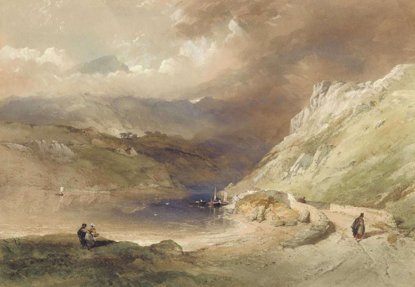 Figures on the shore of a loch