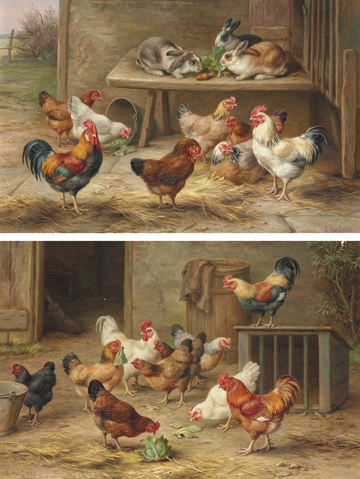 Chickens and rabbits; and Cock of the roost