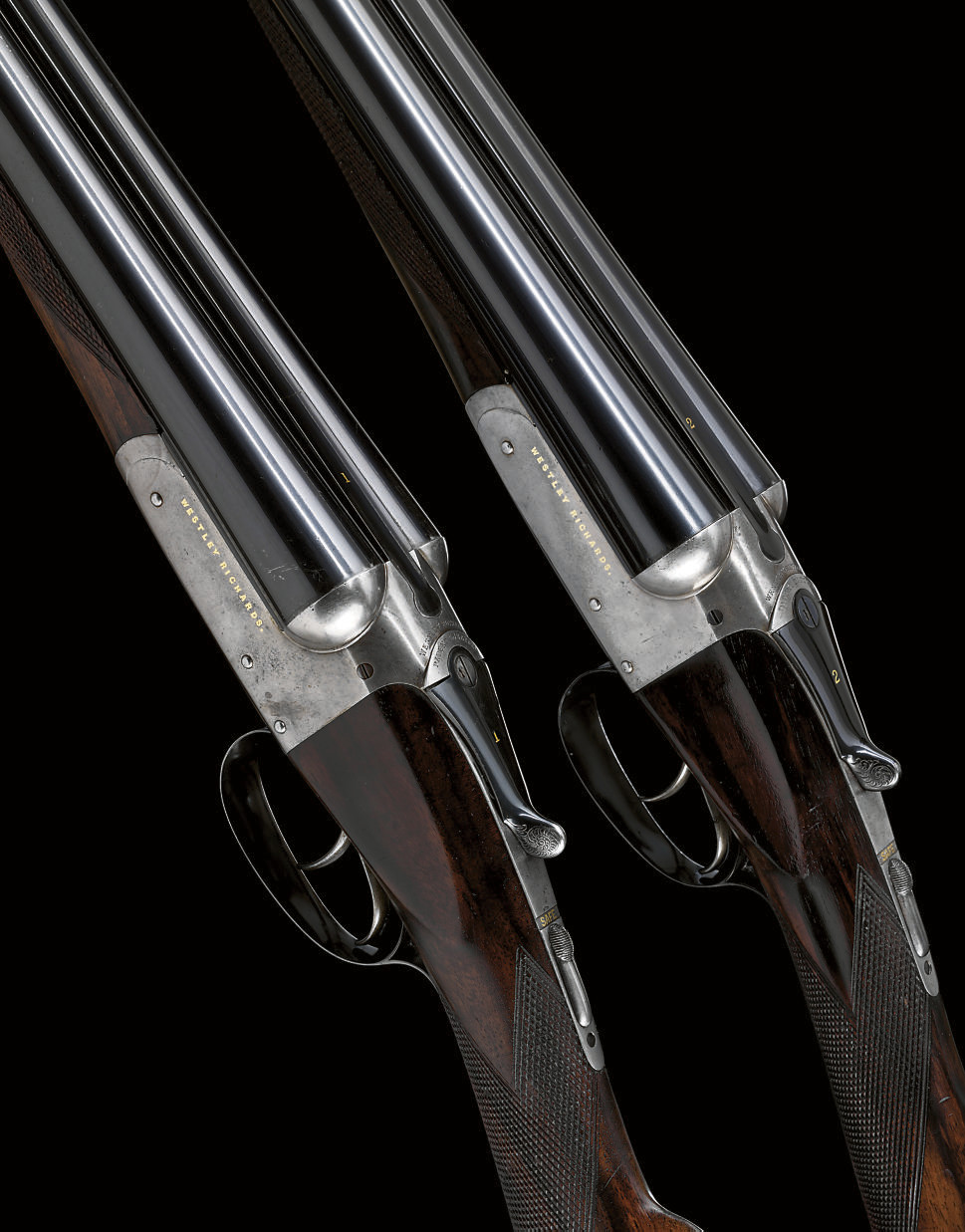 AN EARLY PAIR OF 12-BORE 'GOLD NAME' BOXLOCK EJECTOR GUNS BY WESTLEY RICHARDS, NO. 6706/7