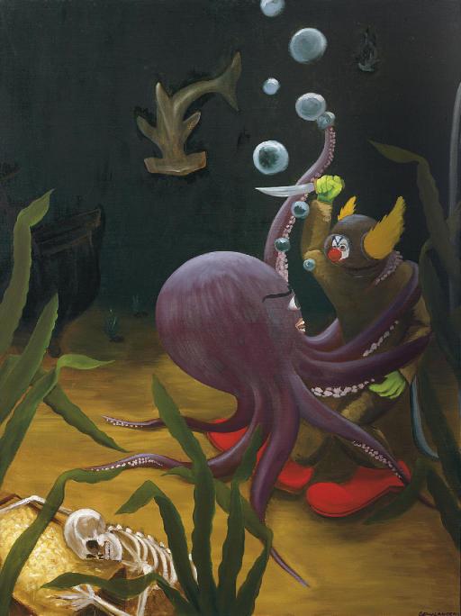 Deep Sea Diver Clown Struggling with Octopus