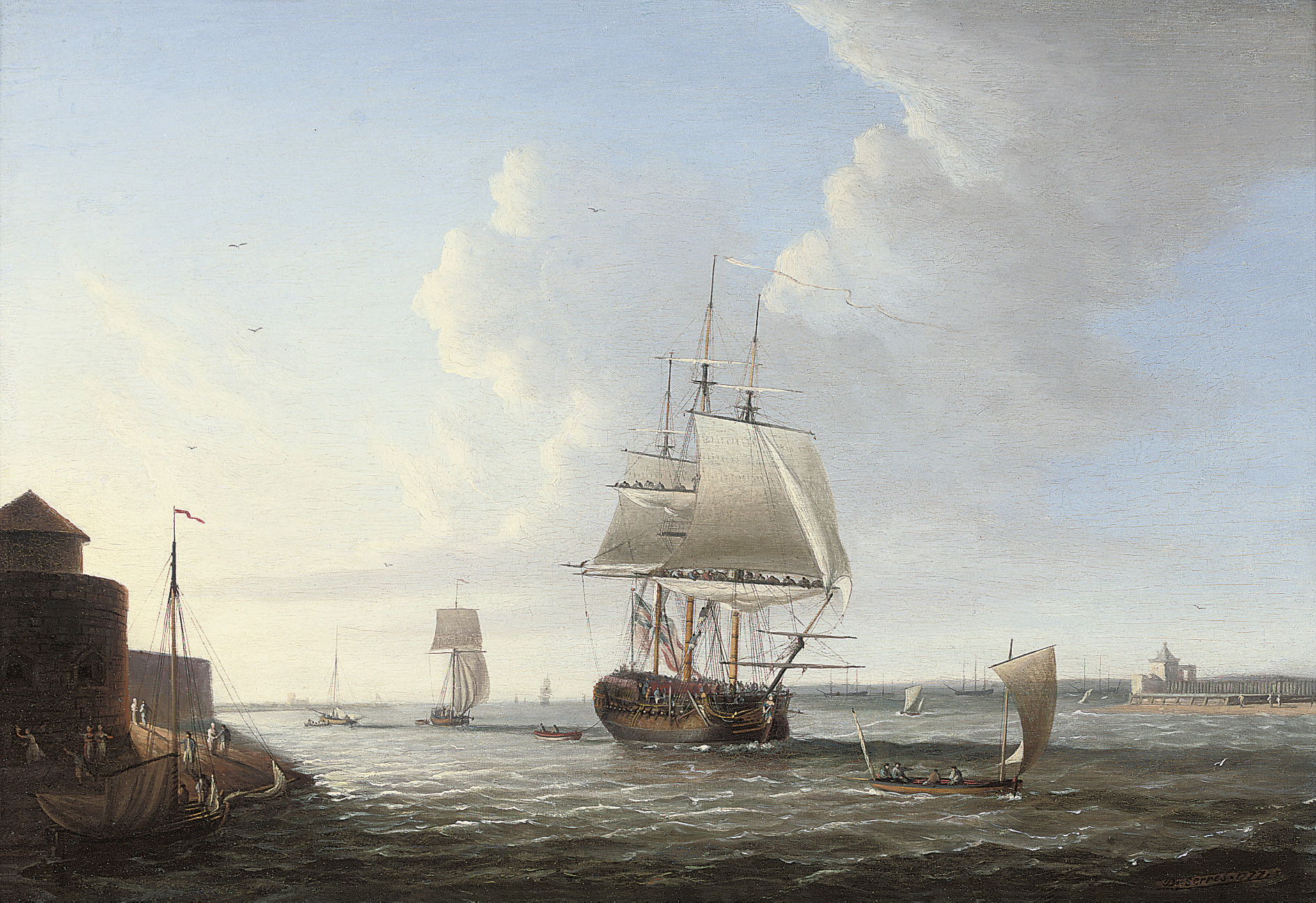 An English man-o'war shortening sail entering Portsmouth harbour, with Fort Blockhouse off her port quarter