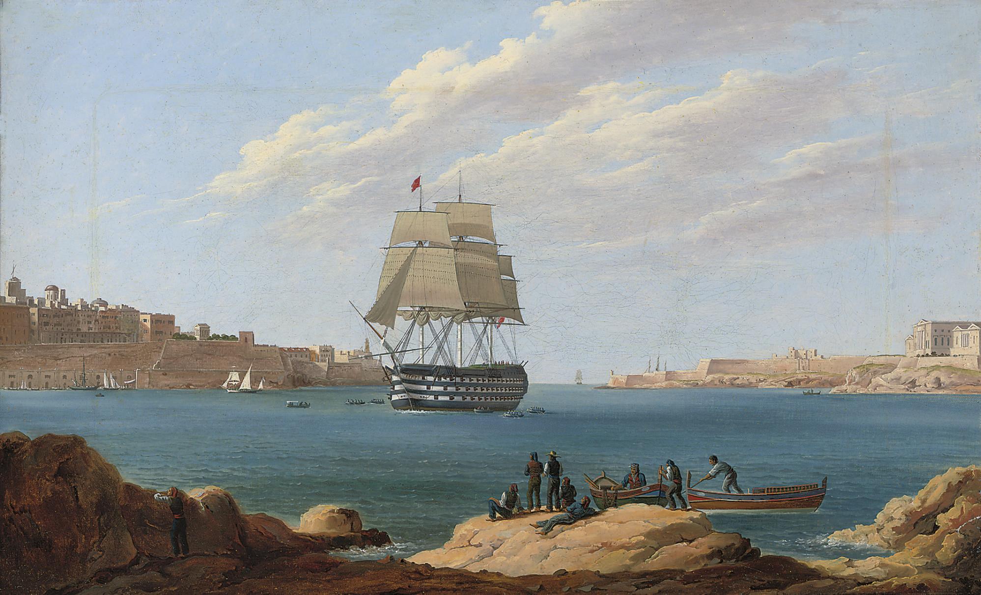 H.M.S. Britannia coming into Valetta, Malta
