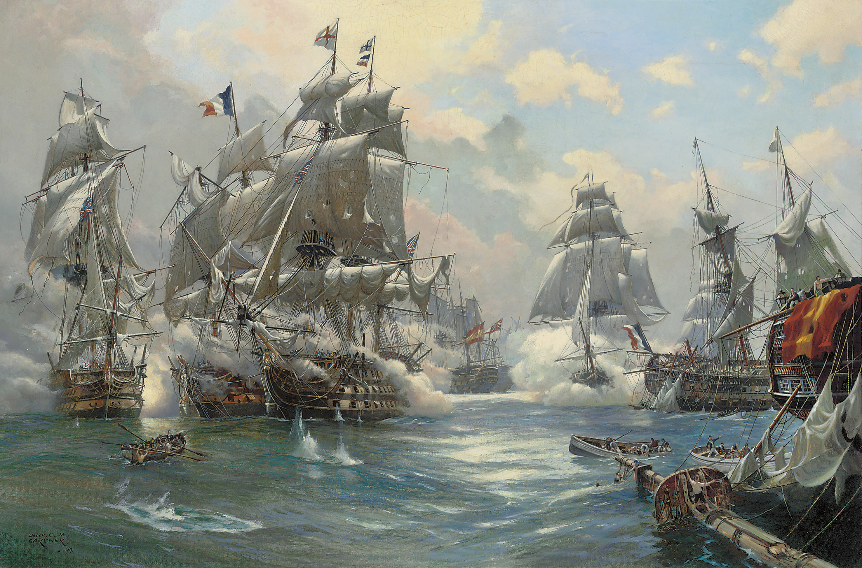 The Battle of Trafalgar: Nelson's Victory and H.M.S. Téméraire engaging the French '74' Rédoubtable, the dismasted hulk of the French flagship Bucentaure lying off Victory's port quarter