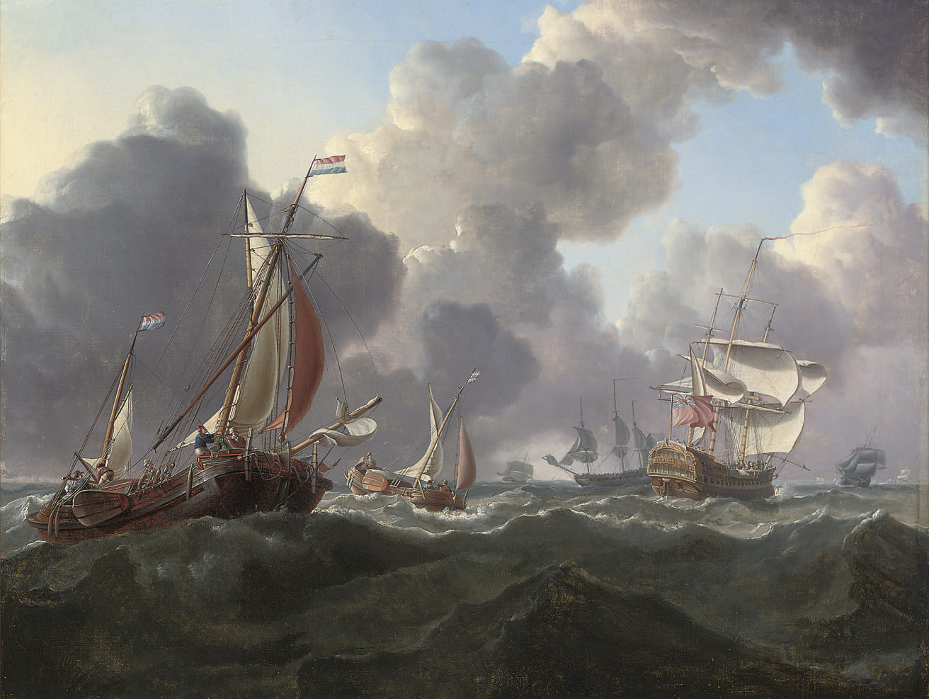 English warships and Dutch hoys in a stiff North Sea breeze