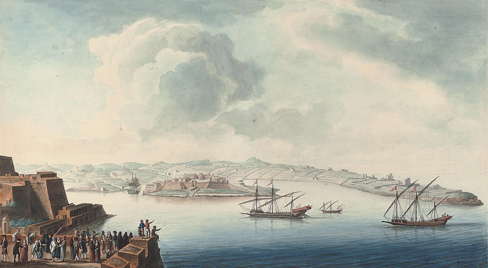 Vue du Port de Marsamucetto et du Fort Manuel, prise du Baston St. André, Malta