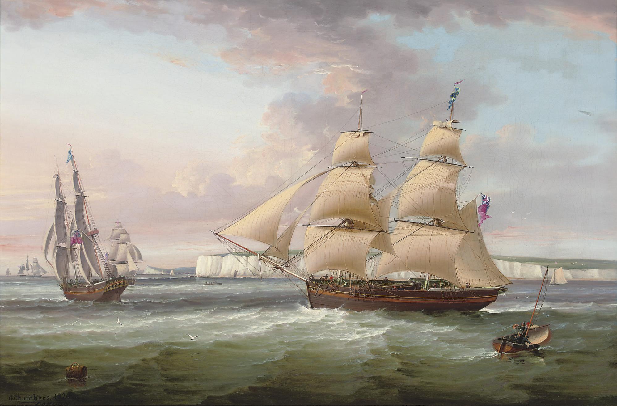 A merchant brig in two positions off Flamborough Head