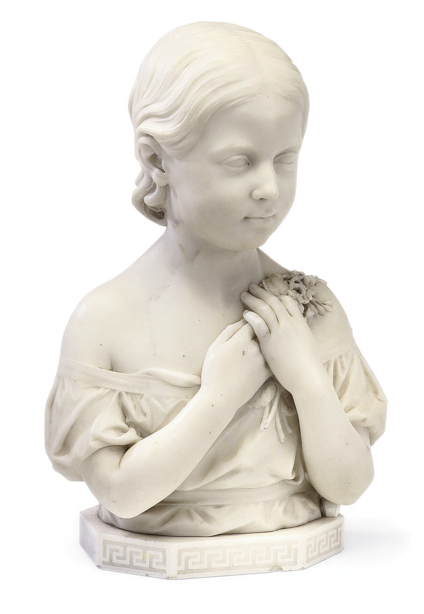 AN ENGLISH WHITE MARBLE THREE-QUARTER LENGTH BUST OF A GIRL