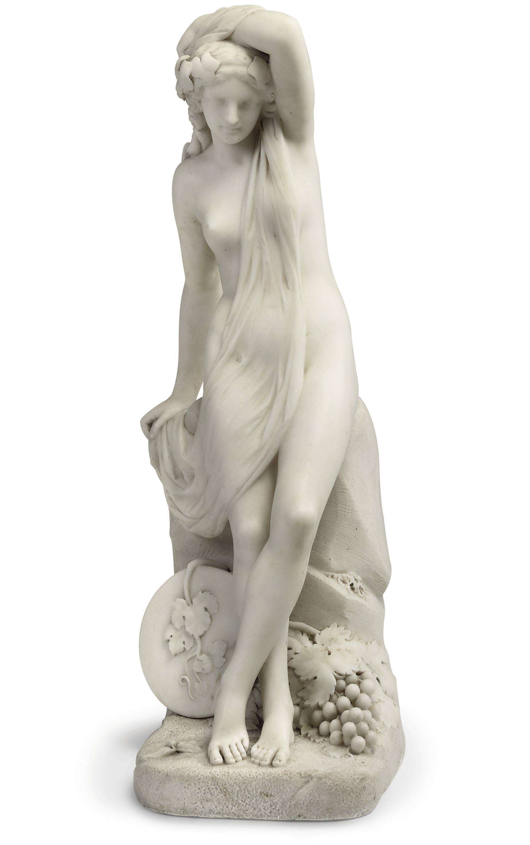 AN ENGLISH WHITE MARBLE FIGURE OF ARIADNE