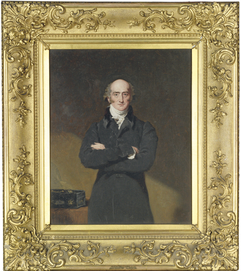 Portrait of George Canning (1770-1827), three-quarter-length, in a black coat, with a dispatches box on the table beside him
