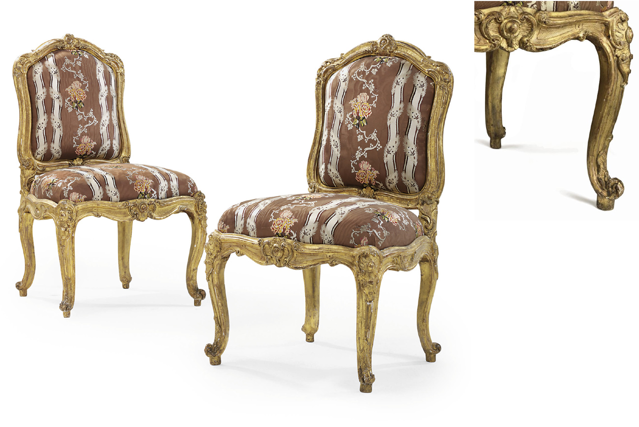 A PAIR OF LOUIS XV CARVED AND GILTWOOD CHAISES A LA REINE