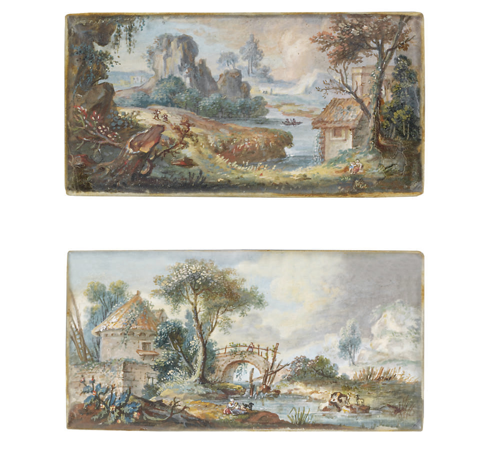 A landscape with a cottage, a stone bridge and figures at the river's edge; together with a landscape with a cottage on the side of a lake, rocks and two figures in a boat