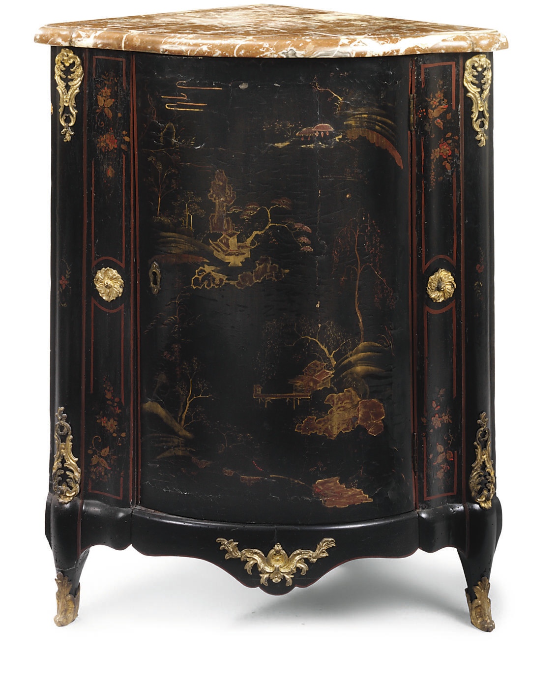 A LOUIS XV ORMOLU-MOUNTED CHINESE BLACK LACQUER AND VERNIS MARTIN ENCOIGNURE
