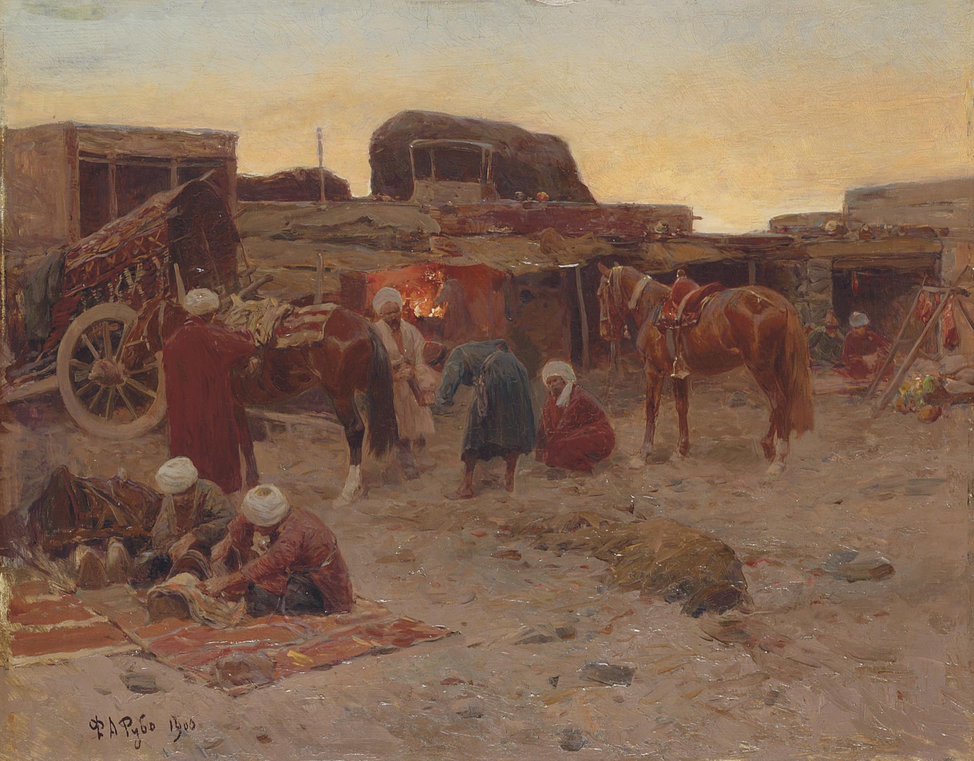 Evening falls at the camp