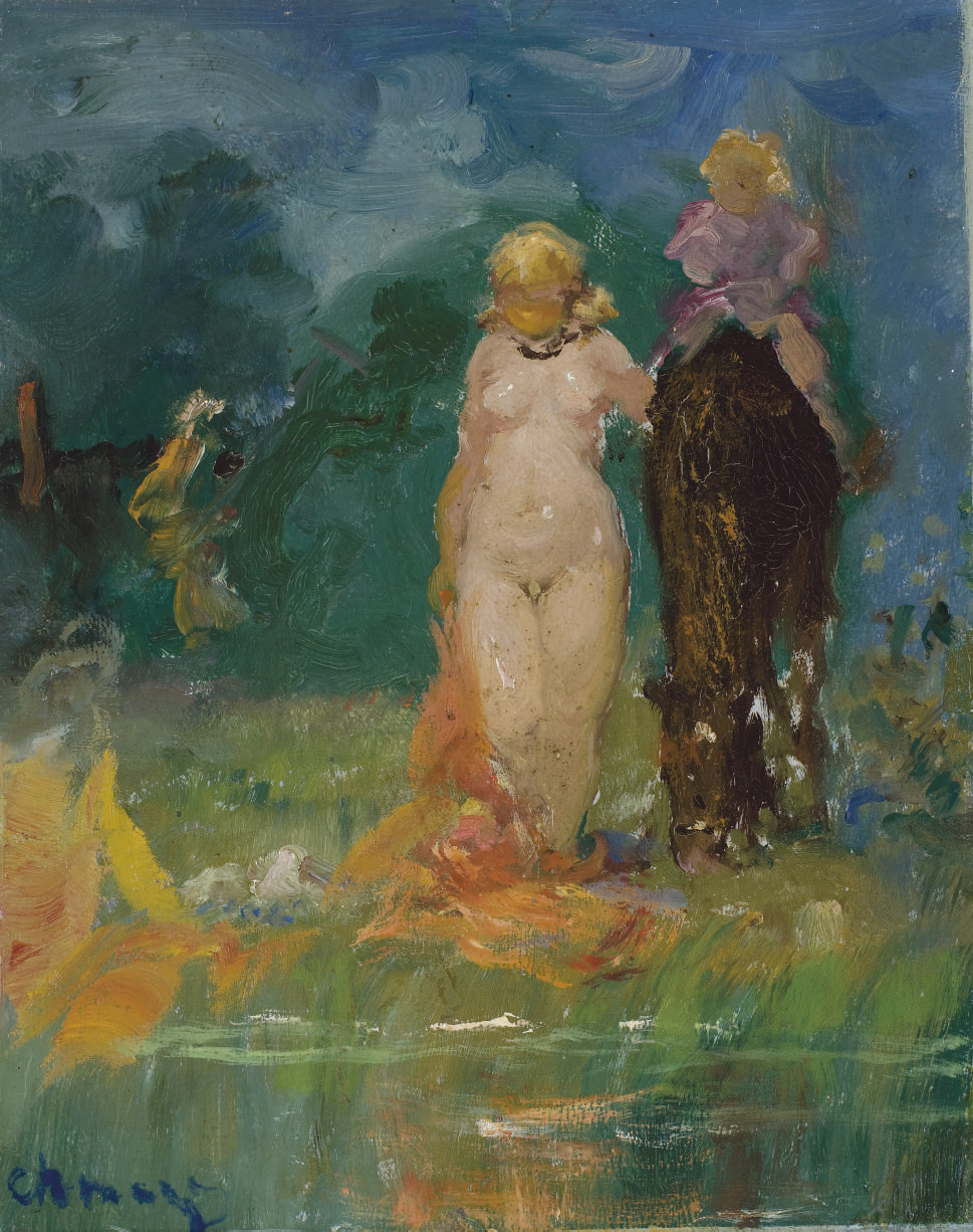 A bather with a child on horseback