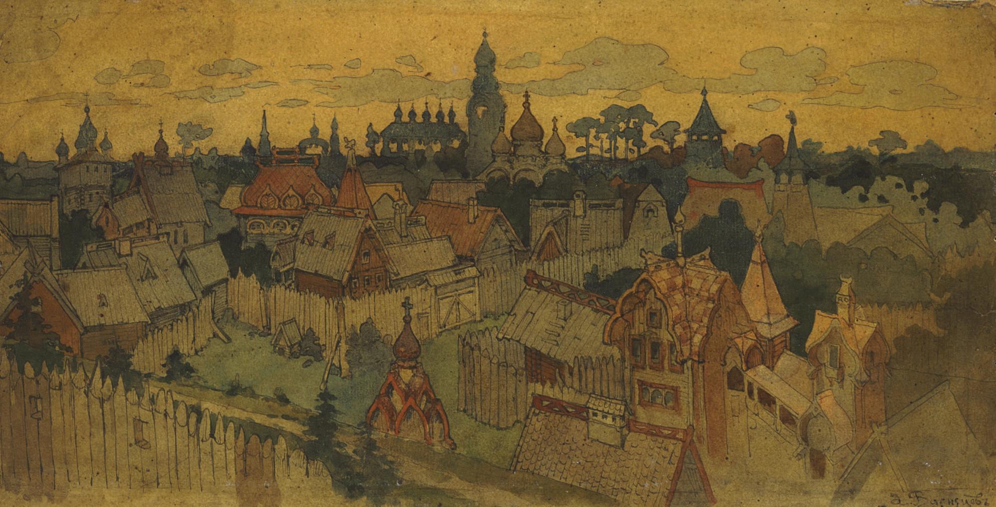 Stage design for Rimskii-Korsakov's opera The Legend of the Invisible City of Kitezh