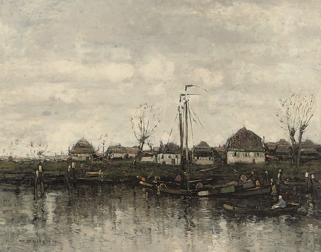 Barges on a Dutch canal