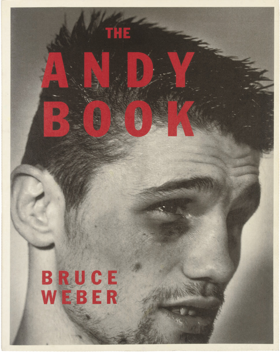 WEBER, Bruce.  The Andy Book. [Tokyo: Shotaro Okada, 1987]. 4° (304 x 238mm). Title printed in red, coloured and monochrome photographed illustrations, separate Japanese text pamphlet loosely-inserted. Original photographed wrappers, spine lettered in red.
