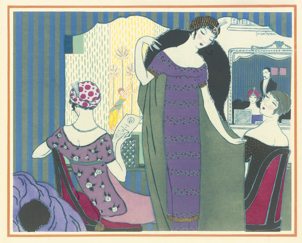 LEPAPE, Georges (1887-1971, illustrator).  Les Choses de Paul Poiret. Paris: Pour Paul Piret par Maquet, 1911. 4° (330 x 295mm). Title printed in orange and black, 12 pochoir-coloured plates by Georges Lepape, a few folding (some light offsetting). Original white pictorial boards lettered in orange, uncut, modern cloth box. ONE OF 1,000 COPIES, THIS NUMBER 223 OF 300 COPIES INITIALLED BY PAUL POIRET, but lacking the 3 additional plates on japon called for in the limitation.	 (5)