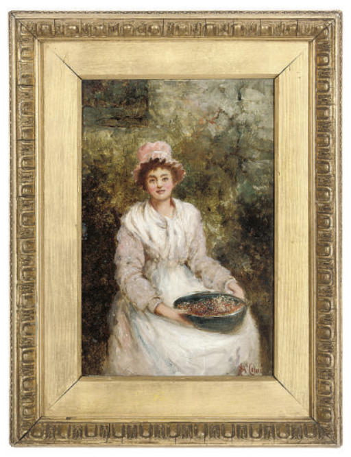 A lady seated in a garden with a bowl of berries; and A gentleman taking snuff