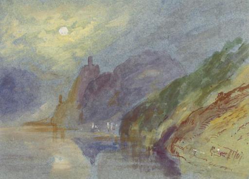A castle on a rocky promontory by moonlight