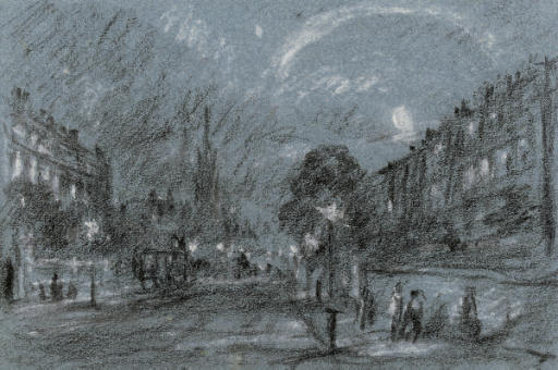 Carriages and figures on an illuminated Georgian street