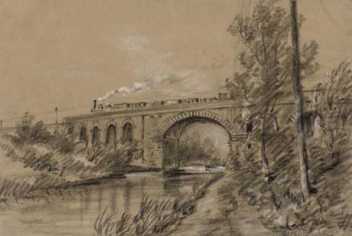 A train crossing a viaduct