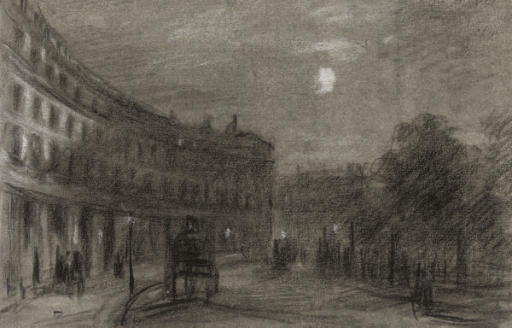 A London crescent, with a carriage and elegant figures, at dusk unframed chalk drawings, the majority topographical subjects and studies of carriages and elegant figures on London streets (one illustrated), Trafalgar Square and rustic views, one indistinctly signed and dated