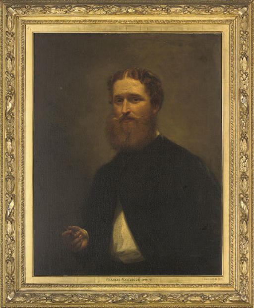 Portrait of Francis Fortescue, half-length, in a white shirt and black coat, smoking a cigar