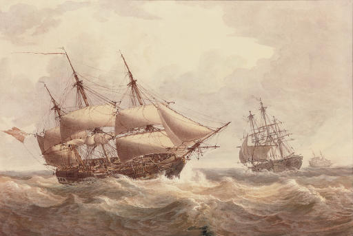 A Naval squadron reefed down for the impending storm (illustrated); and A brig arriving at her anchorage