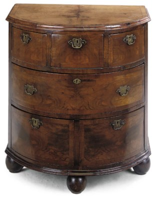 A DUTCH WALNUT BOW FRONT CHEST
