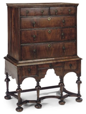 A WALNUT CHEST ON STAND
