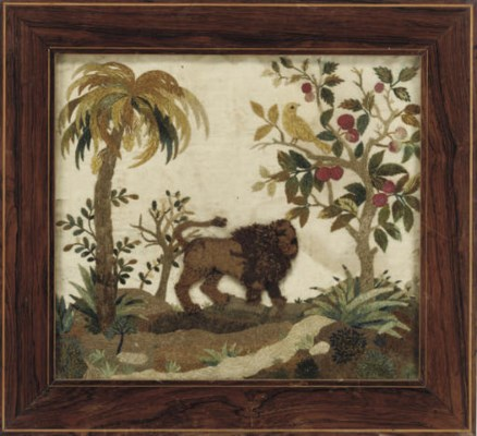 A WOOLWORK PICTURE OF A LION,