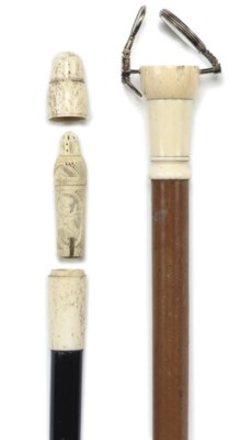 A IVORY MOUNTED MALACCA GADGET