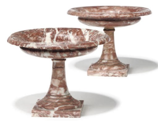 A PAIR OF PINK MARBLE TAZZA