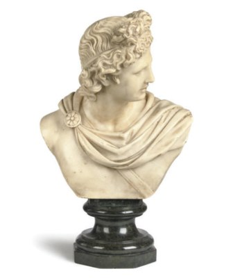 AN ITALIAN ALABASTER BUST OF T