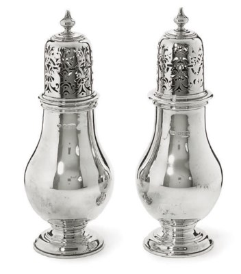 A PAIR OF SILVER SUGAR CASTERS