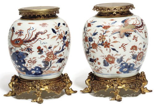 A Pair of Chinese imari ormulu
