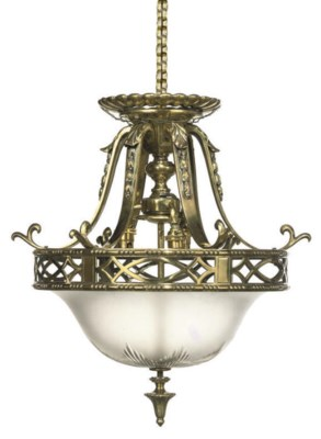 AN EDWARDIAN BRASS AND FROSTED