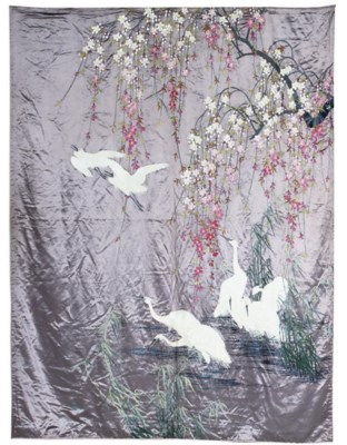 A JAPANESE EMBROIDERED HANGING